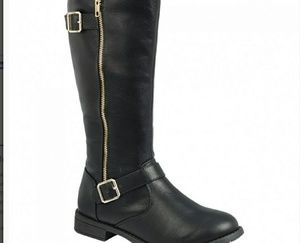 Shoes - Brand new black boots with side gold zipper